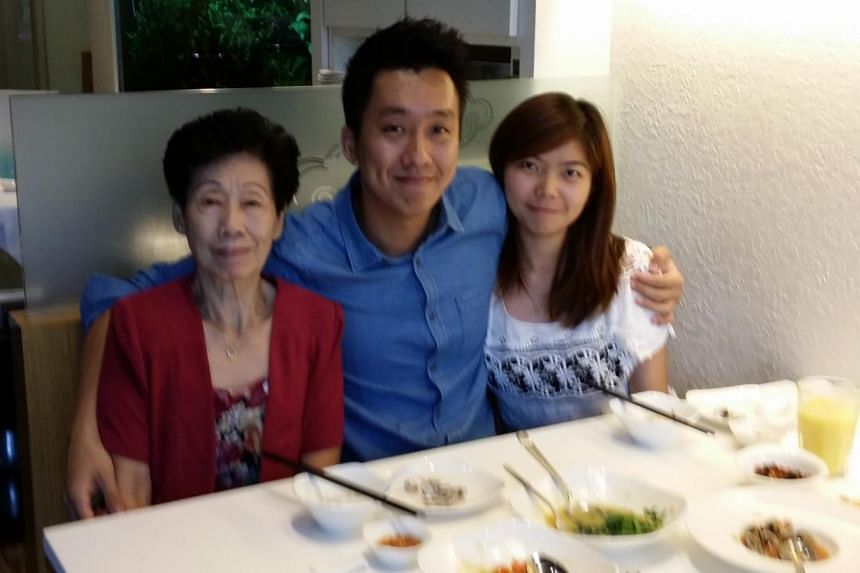 From left: Madam Margaret Wong, Mr Kenneth Goh and his girlfriend. -- PHOTO: KENNETH GOHMy dad left us when I was only 9 months old. My mum single-handedly brought up three sons by working an usher for Cathay. Even at the age of 74, she is still taki