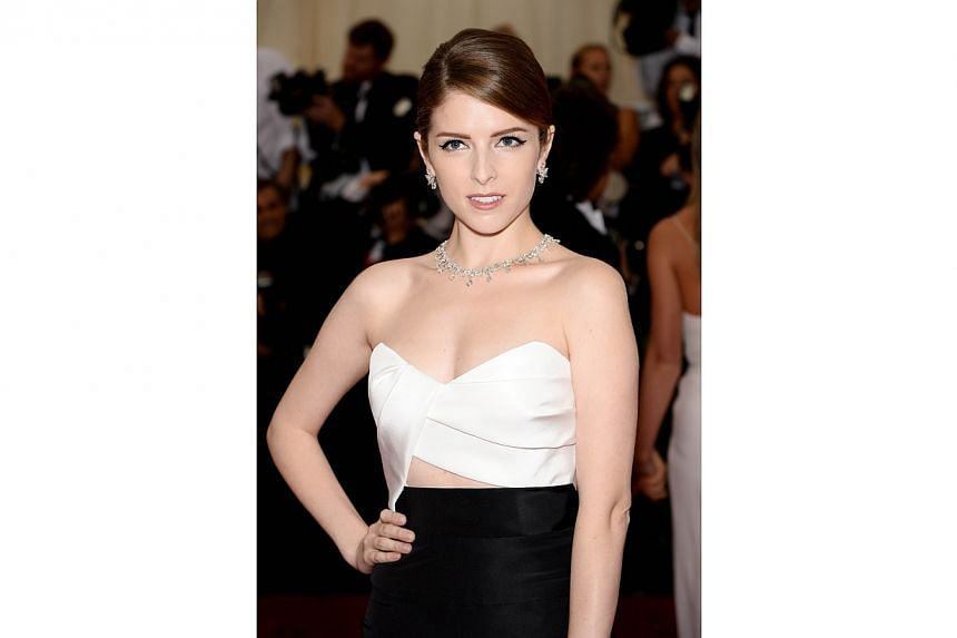 "Actress Anna Kendrick attends the ""Charles James: Beyond Fashion"" Costume Institute Gala at the Metropolitan Museum of Art on May 5, 2014 in New York City. -- FILE PHOTO: AFP"