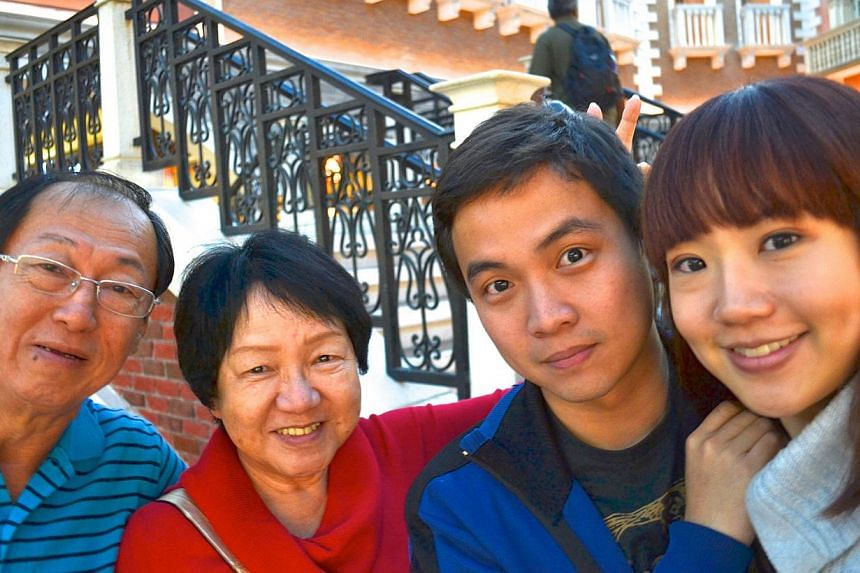 Lin hosting TV series, Secret Singapore, and holidaying in Macau (above) in 2011 with her dad, mum and fiance Lie Wei Xiang. -- PHOTO: COURTESY OF LIN PEIFEN