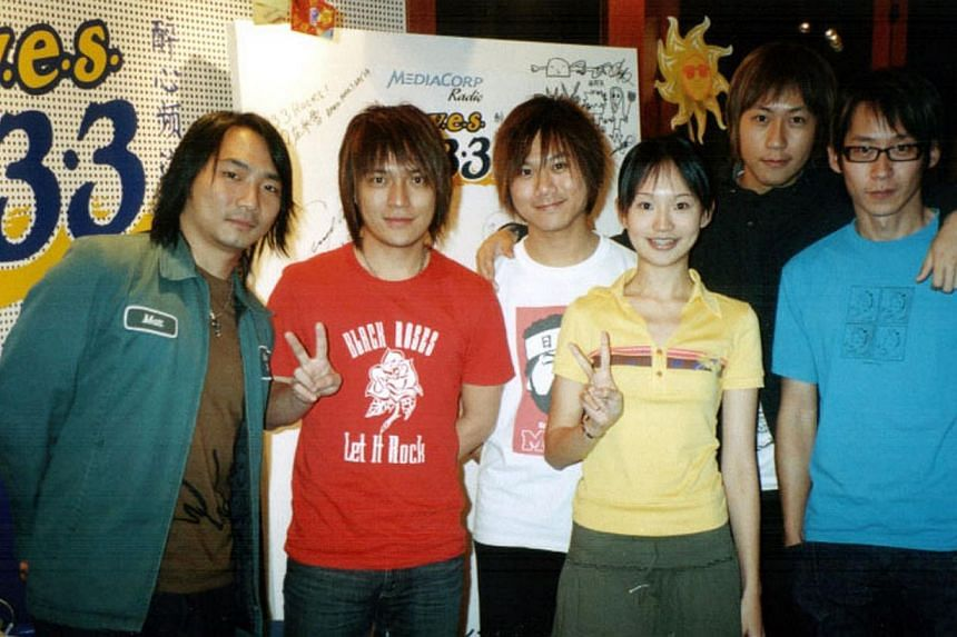 Lin Peifen at age six and in 2005 with Taiwan rock band Mayday (above), whom she interviewed for radio. -- PHOTO: COURTESY OF LIN PEIFEN