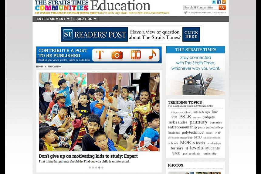 A screengrab of the new ST Education Community site. It allows readers to ask questions, share their views and contribute posts alongside ST journalists.