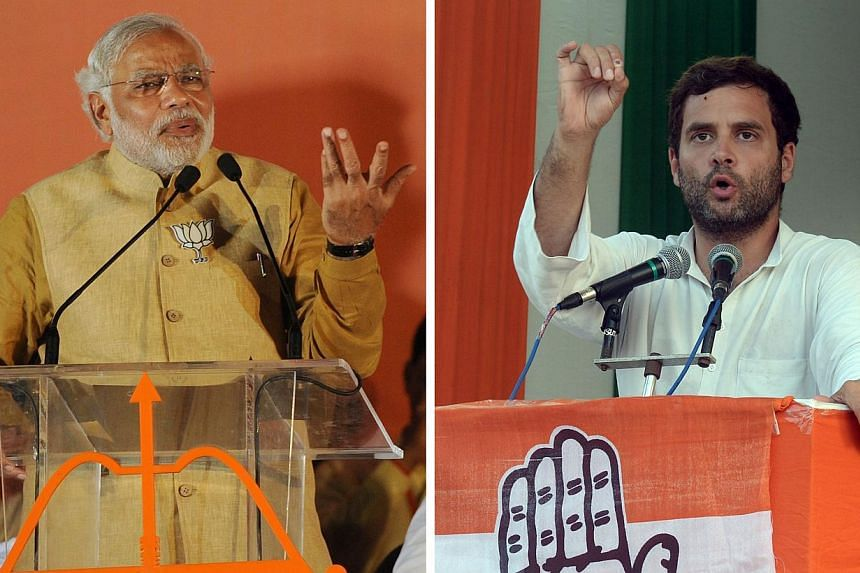 This combination of photographs created on May 12, 2014, shows Chief Minister of the western Indian state of Gujarat and Bharatiya Janata Party (BJP) prime-ministerial candidate Narendra Modi (L) as he addresses an election campaign rally in Mumbai o