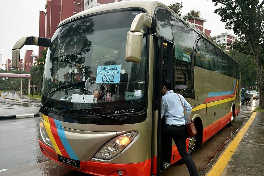 The Ang Mo Kio City Direct Bus Service 652. Three new City Direct bus services will begin operations in the next few weeks to serve residents in Eunos, Bedok and Hougang. -- ST FILE PHOTO:KUA CHEE SIONG