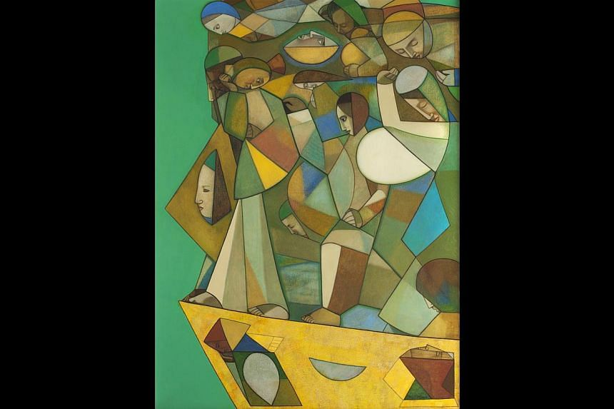 Goswami's Cubist semi-abstract figures (above, an oil on canvas titled Vacation) in paintings and murals have been praised for their vitality and translucent, brilliant colours. -- PHOTO: SANCHIT ART