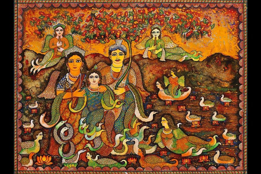 Burman, 54, who is inspired by Indian folk art, will show new paintings drawing on Indian folk traditions, such as Parivar (above). -- PHOTO: SANCHIT ART