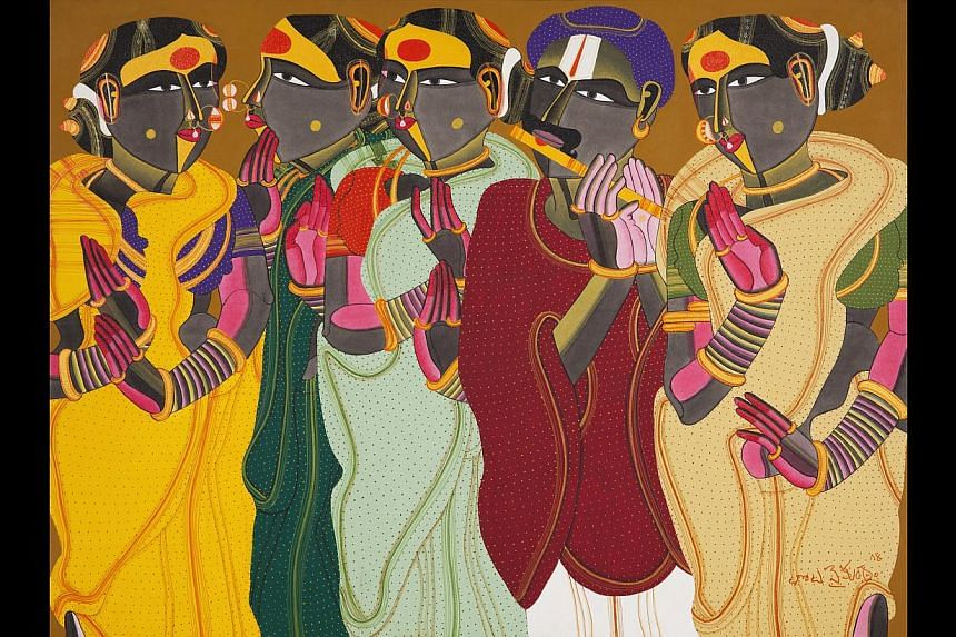 His village women (above, in an untitled work) have skin the colour of charcoal and their voluptuous bodies are sheathed in saris in bold colours. -- PHOTO: SANCHIT ART