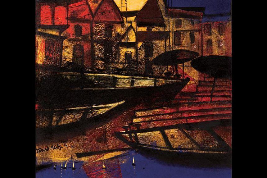 The paintings on show by Paresh Maity (far right) include Intimacy (right) and Eternal Light (below, right).