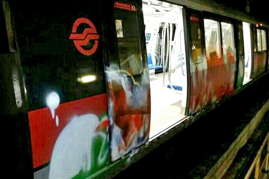 The graffiti on the vandalised train appeared haphazard, unlike in the past two cases of defaced MRT trains, which involved well-defined work.