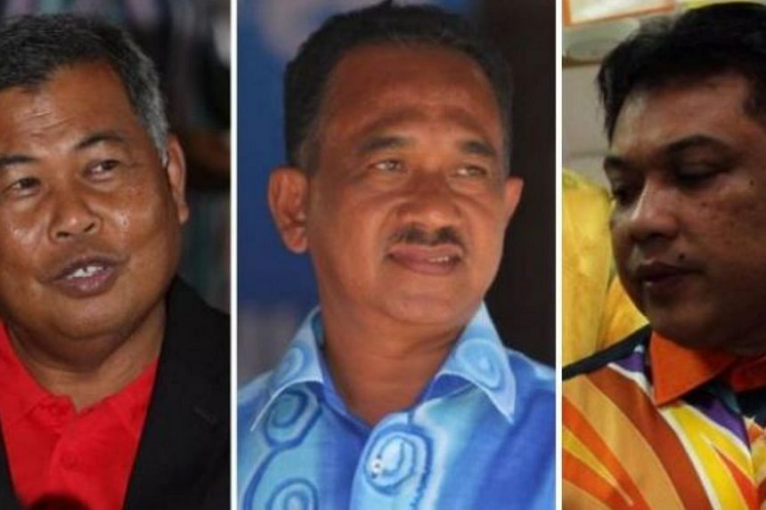 (From left to right): FormerTerengganuMentri Besar Datuk Seri Ahmad Said,Bukit Besi assemblyman Roslee Daudand Ghazali Taib,Ajil assemblyman. - FILE PHOTO: THE STAR/ASIA NEWS NETWORK