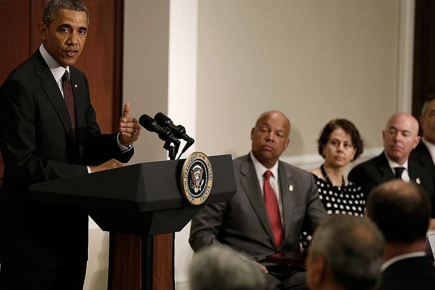 US President Barack Obama addresses law enforcement leaders from across the country in the Eisenhower Executive Office Building in Washington, DC, USA on 13 May 2014. Mr Obama warned on Tuesday a narrow window remained to pass immigration reform
