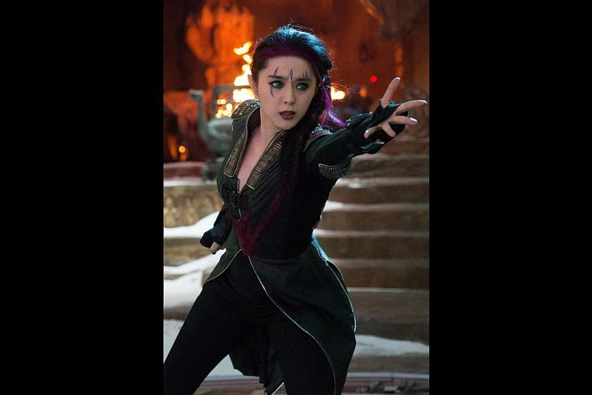 Expected at the X-Men: Days Of Future Past gala premiere at Shaw House today are the movie's stars Peter Dinklage, Fan Bingbing (above) and Hugh Jackman. -- PHOTO: TWENTIETH CENTURY FOX
