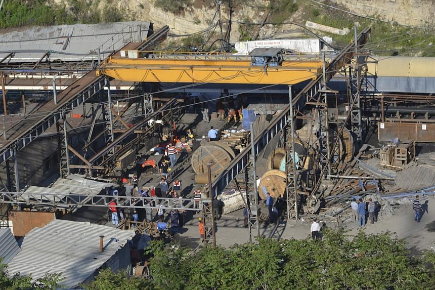 A general view of a coal mine where miners are trapped near Soma, a district in Turkey's western province of Manisa on May 13, 2014. -- PHOTO: REUTERS