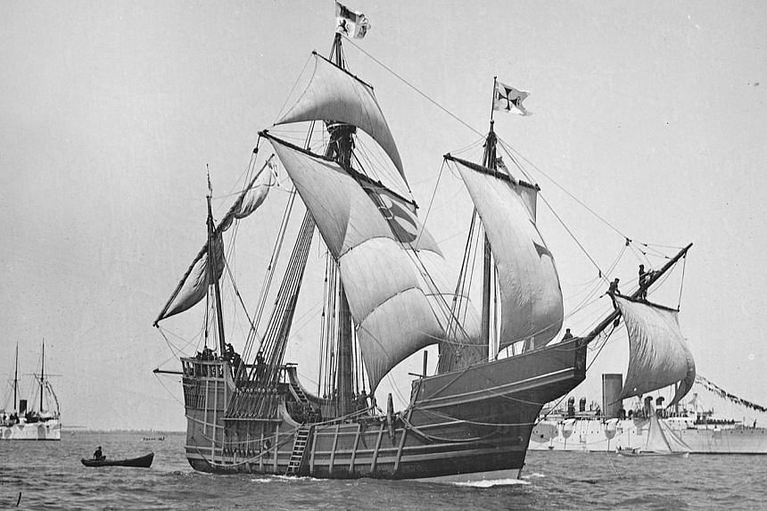 A replica of Christopher Columbus' caravel Santa Maria is shown in this circa 1892 handout photo provided by the United States Library of Congress on May 13, 2014. -- PHOTO: REUTERS