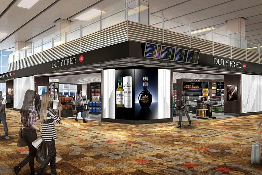 An artist's concept of an upgraded DFS store at Changi airport. The airport's liquor and tobacco stores are getting a major facelift that will make them bigger and better.-- PHOTO: CHANGI AIRPORT GROUP