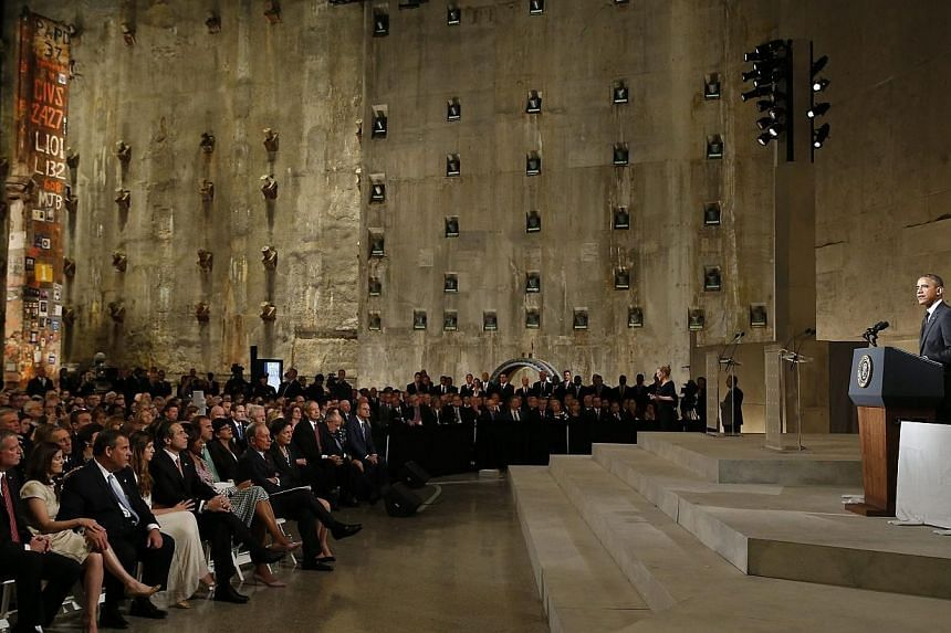United States President Barack Obama speaks during the dedication ceremony in the Foundation Hall of the National September 11 Memorial & Museum at Ground Zero in New York on 15 May 2014. -- PHOTO: EPA