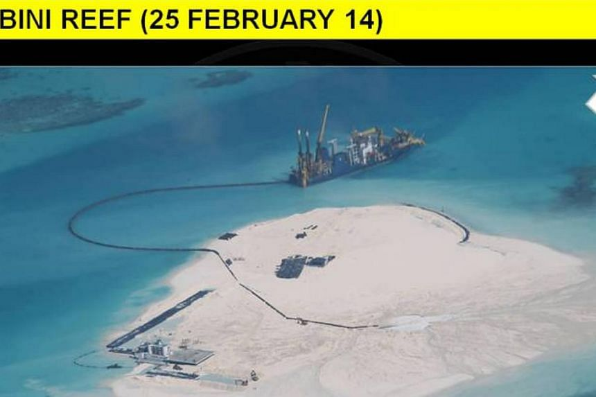 This series of photographs, which were released by the Department of Foreign Affairs and gathered from Philippine intelligence sources, shows in stages the extensive reclamation by China on Mabini Reef (Johnson South Reef).  The Philip
