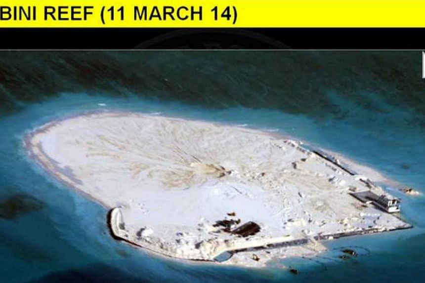 This series of photographs, which were released by the Department of Foreign Affairs and gathered from Philippine intelligence sources, shows in stages the extensive reclamation by China on Mabini Reef (Johnson South Reef).  The Philippines