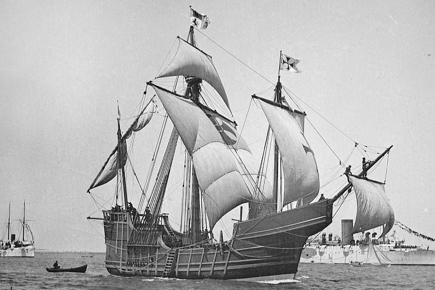 A replica of Christopher Columbus' caravel Santa Maria is shown in this circa 1892 handout photo provided by the United States Library on May 13, 2014.The US marine archaeological researcher who believes he has found the famous flagship of Chri