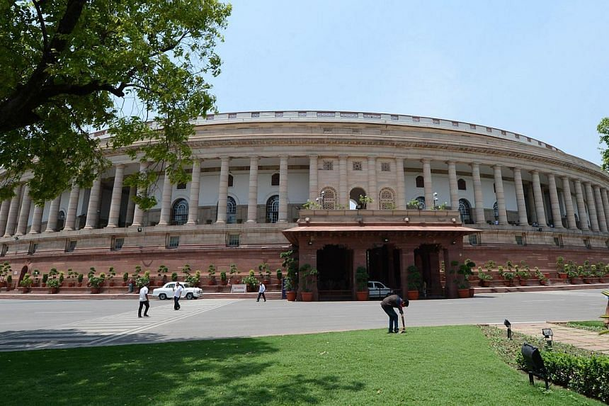 Parliament House is pictured as preparations for the newly elected members of the upcoming 16th Parliament are put in place in New Delhi on May 15, 2014. --PHOTO: AFP