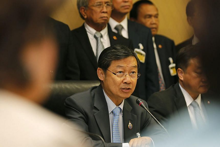Thai newly appointed speaker Surachai Liangboonlertchai speaks to the media during a news conference at the Parliament House in Bangkok, Thailand, on May 16, 2014. After several days of talks among some, mostly unelected members of the upper hou