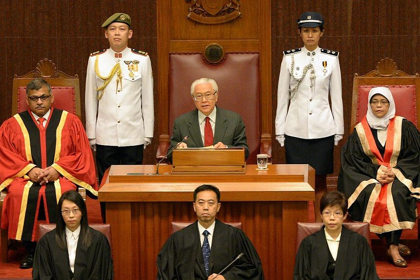 President Tony Tan Keng Yam opened the new session of Parliament on Friday night. -- ST PHOTO:DESMOND WEE