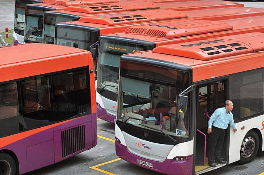 """SBS Transit buses at the Toa Payoh bus interchange.Singapore will make use of new technologies to be a """"Smart Nation"""" for people to have a better quality of life, President Tony Tan Keng Yam said in Parliament on Friday night. -- ST PHOTO :&nbs"""