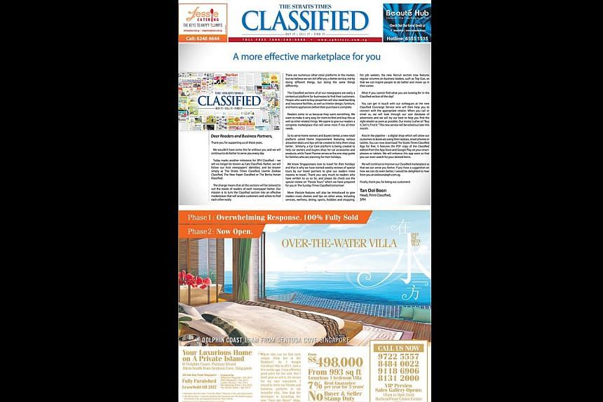 The revamp means the Classified section will take on the identity of the respective host newspapers, such as The Straits Times (left). Readers can also look forward to articles related to the different segments (right).
