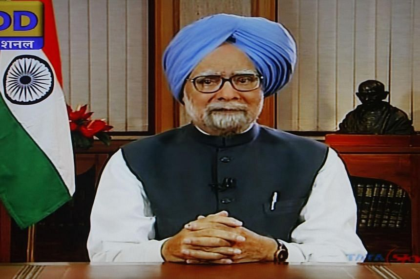 In this screengrab taken from Indian state television station Doordarshan on May 17, 2014, Indian Prime Minister Manmohan Singh addresses the nation from his residence in New Delhi. Dr Singh defended his decade-long record on Saturday as he resigned