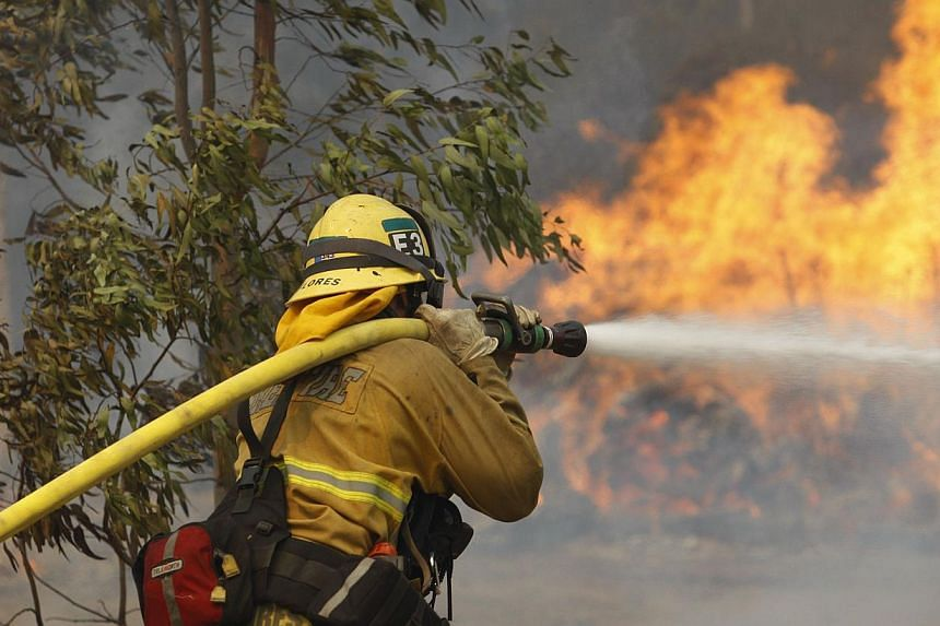 A firefighter hoses flames at the Cocos fire on May 15, 2014 in San Marcos, California. Fire agencies throughout the state are scrambling to prepare for what is expected to be a dangerous year of wildfires in this third year of extreme drought in Cal