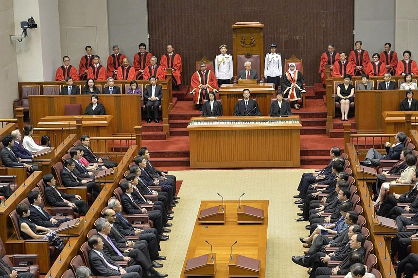 President Tony Tan Keng Yam addressing Parliament on May 16, 2014. -- ST FILE PHOTO: DESMOND WEE