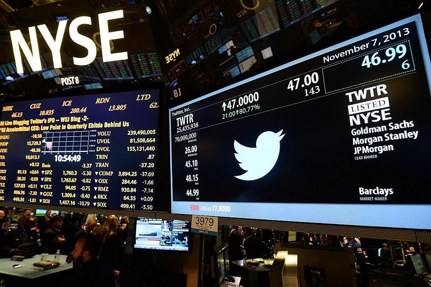 A screen displaying Twitter's logo and share price as it started trading on the New York Stock Exchange in November last year. Twitter shares have plummeted since the company's Wall Street debut. The equity bull run is currently in its sixth year and