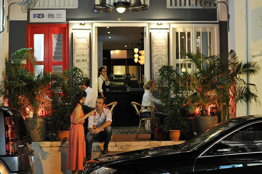 Along Tras Street, you will find food and beverage establishments such as Cafe Gavroche (above), Gattopardo Ristorante Di Mare and Buttero. -- PHOTO: LIM YAOHUI FOR THE SUNDAY TIMES