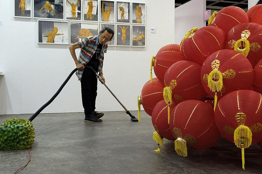 Singapore artist Lee Wen at Art Basel 2014 in Hong Kong.