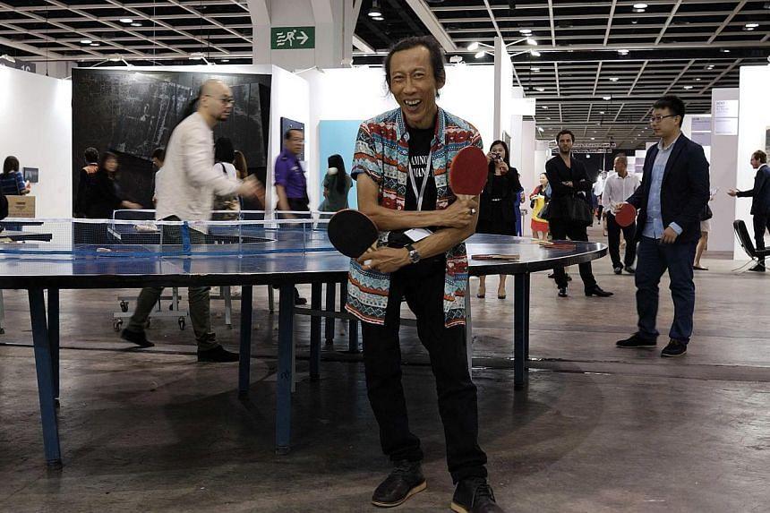 Singapore artist Lee Wen at Art Basel 2014 in Hong Kong.