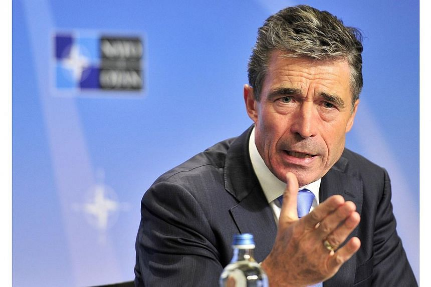 NATO Secretary General Anders Fogh Rasmussen gives his monthly press conference on May 19, 2014 at the Residence Palace building in Brussels. Mr Rasmussen said on Monday he had seen no proof of Russian troops withdrawing from the border with Ukraine