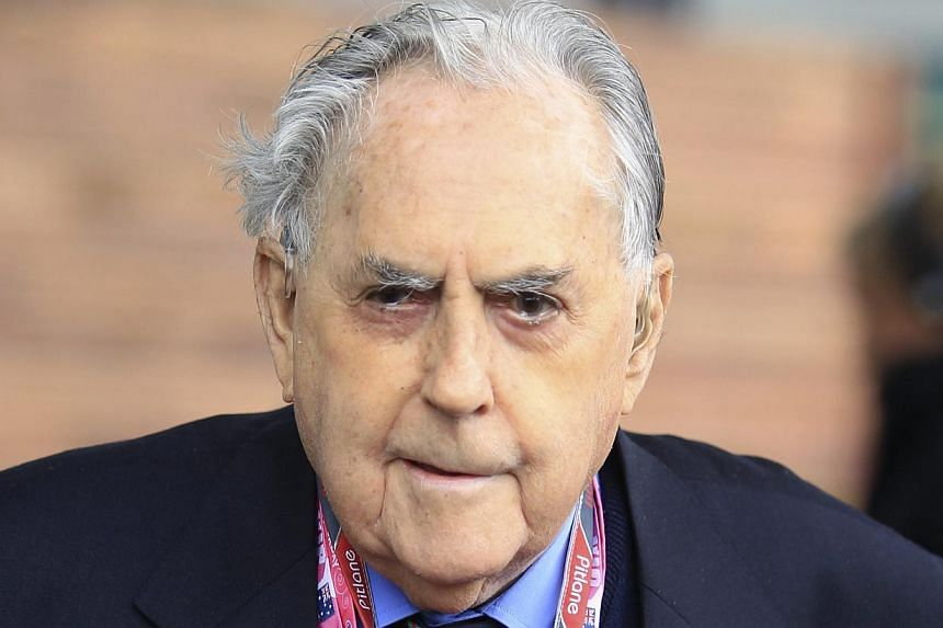Former Formula One driver Jack Brabham of Australia is seen behind the pits before the qualifying session of the Australian F1 Grand Prix at the Albert Park circuit in Melbourne in this March 26, 2011 file photo. Australian three times Formula One ch