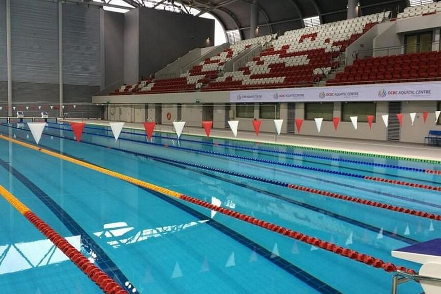 The OCBC Aquatic Centre has become the first facility at the Singapore Sports Hub to complete construction, and will host its first event next month.-- ST PHOTO: MAY CHEN