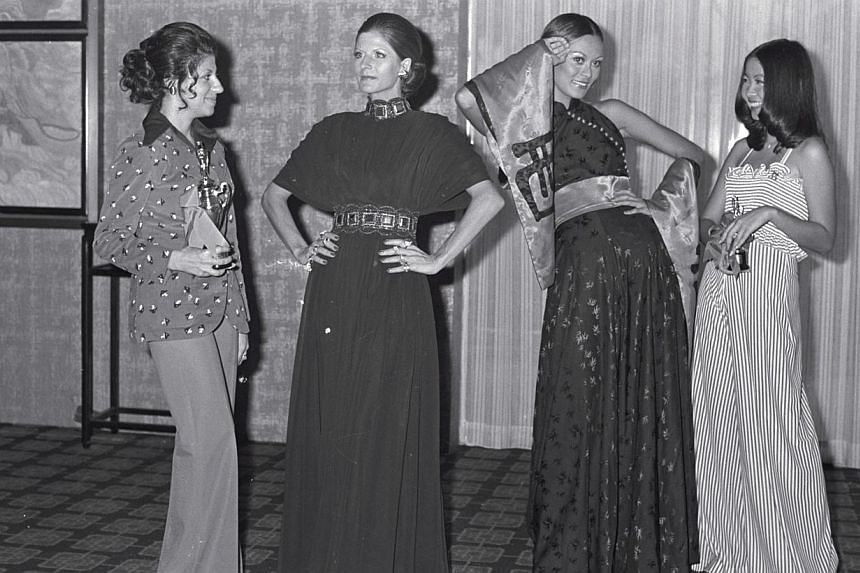 A photo of Farah Khan (right) that appeared in The Straits Times in 1972 when she won a designer award at age 17. -- PHOTO: COURTESY OF FARAH KHAN