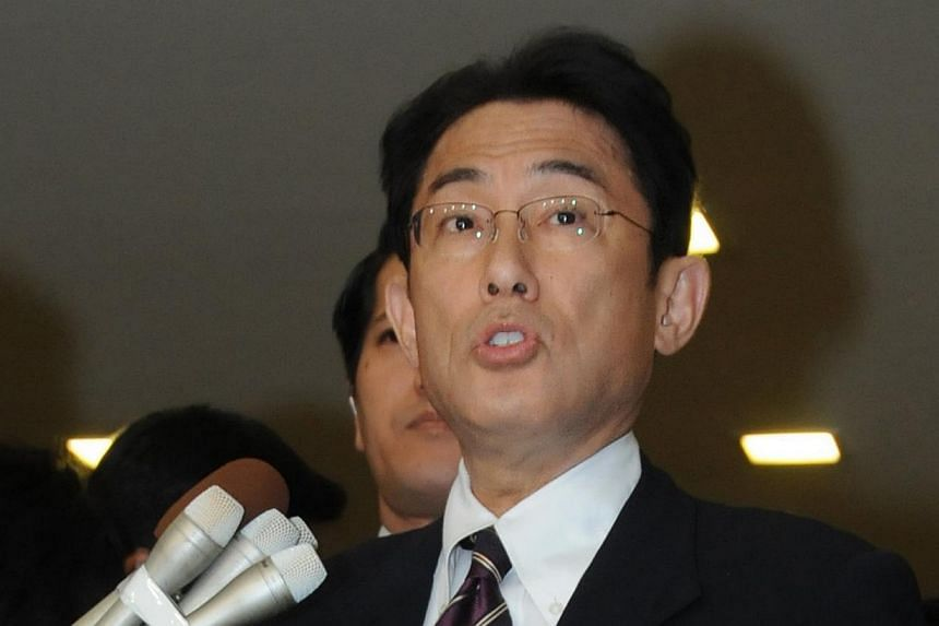 Japanese Foreign Minister Fumio Kishida announces Japan and North Korea will hold government-level talks in Stockholm next week at his office in Tokyo on May 19, 2014.Japan said on Monday it will hold talks with North Korea next week in Sweden,
