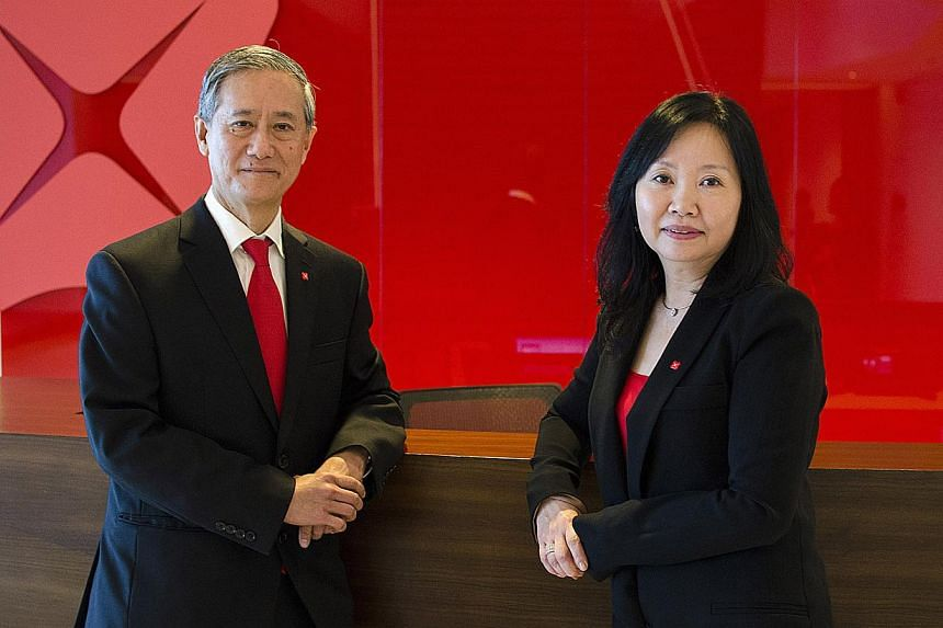 Investment banking veteran Eric Ang (left) will step down as the capital markets head of DBS on June 1. He will be replaced by his deputy, MsEng-Kwok Seat Moey (right). -- PHOTO: DBS BANK