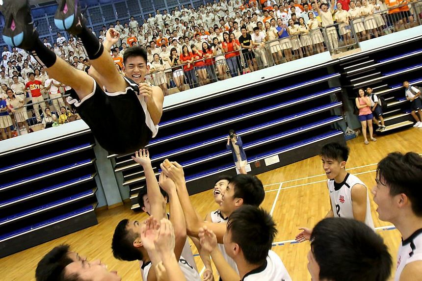The boys from Hwa Chong Institution threw their captain Johrathon Cheok in the air after he led them to a 56-51 win over Anderson Junior College. Hwa Chong Institution (HCI) re-established their credentials as basketball heavyweights in the Schools N