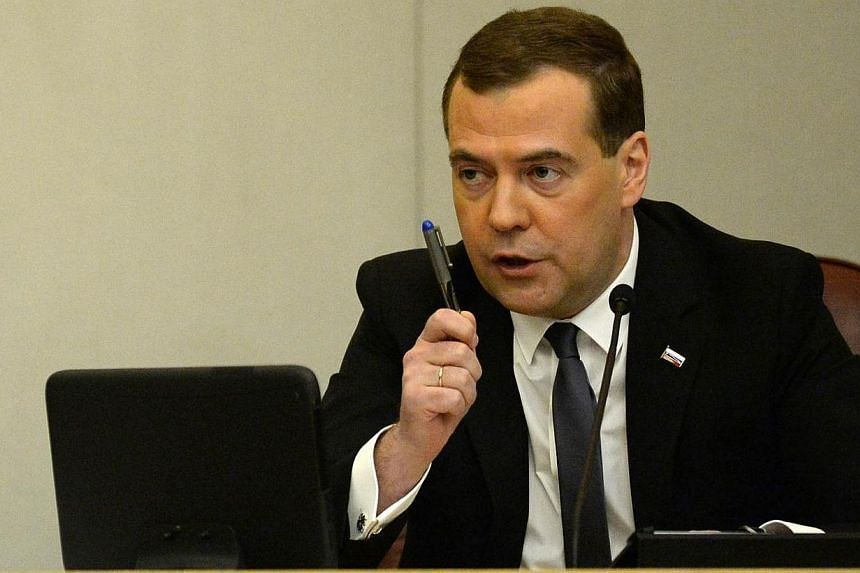 Russian Prime Minister Dmitry Medvedev said in an interview broadcast on Tuesday, May 20, 2014,thatRussia and Western powers are on the brink of a new Cold War over the crisis in Ukraine. -- FILE PHOTO: AFP