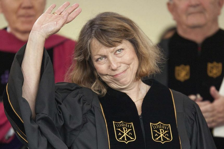 Jill Abramson, former Executive Editor of the New York Times, waves after giving the commencement address at Wake Forest University in Winston-Salem, North Carolina on May 19, 2014. -- PHOTO: REUTERS