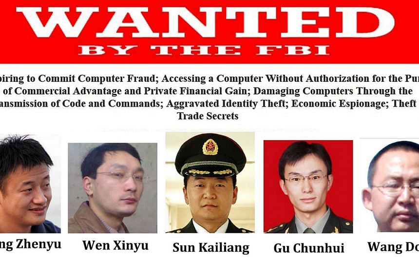 This combination of images released by the FBI on May 19, 2014 shows five Chinese hacking suspects. The United States on May 19, 2014 charged five members of a shadowy Chinese military unit for allegedly hacking US companies for trade secrets, infuri