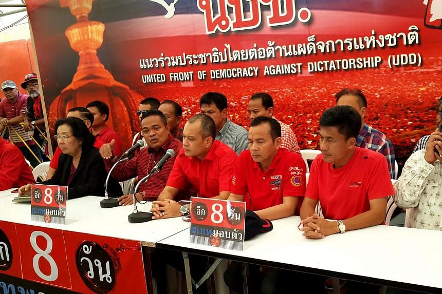 UDD leaders at press conference on Tuesday: Not a coup d'etat, but don't cross the line. -- ST PHOTO: NIRMAL GHOSH