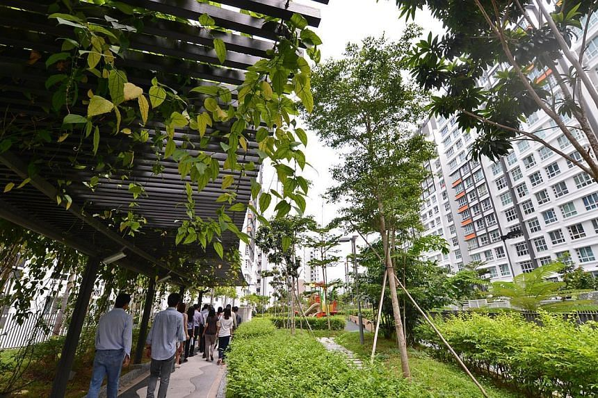 Punggol Breeze estate's 270m linear roof garden is the longest one in Punggol. -- ST FILE PHOTO:NURIA LING