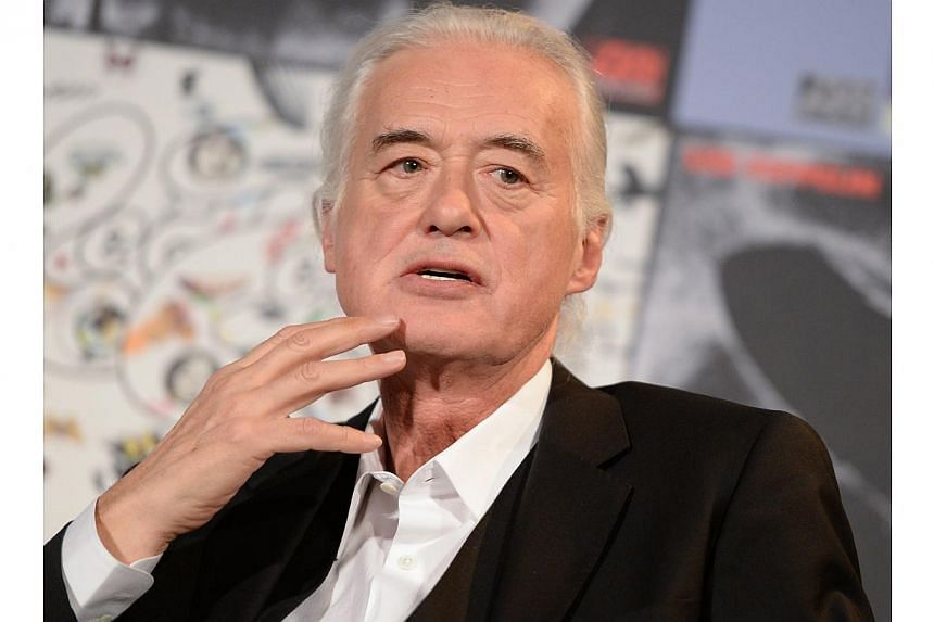 An image released on 15 May 2014 shows British guitarist Jimmy Page of the band Led Zeppelin at a press conference in Berlin, Germany, on April 16 2014. -- FILE PHOTO: EPA