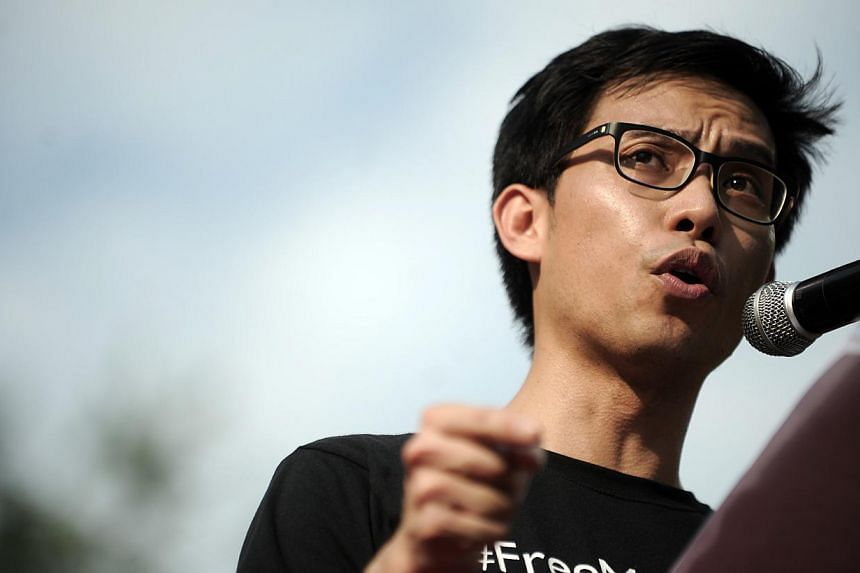 Roy Ngerng Yi Ling speaking during a three-hour protest rally at Speakers' Corner in Hong Lim Park on 8 June 2013. Mr Ngerng took to social media on Wednesday morning to announce he has applied to be a Nominated Member of Parliament(NMP). -- PHOTO: