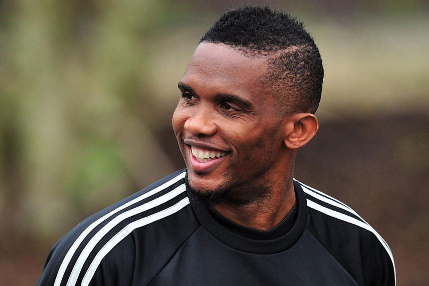 Chelsea's Cameroonian striker Samuel Eto'o arrives to attend a training session at Chelsea's training ground at Cobham, Southwest of London, England on April 7, 2014. -- FILE PHOTO: AFP