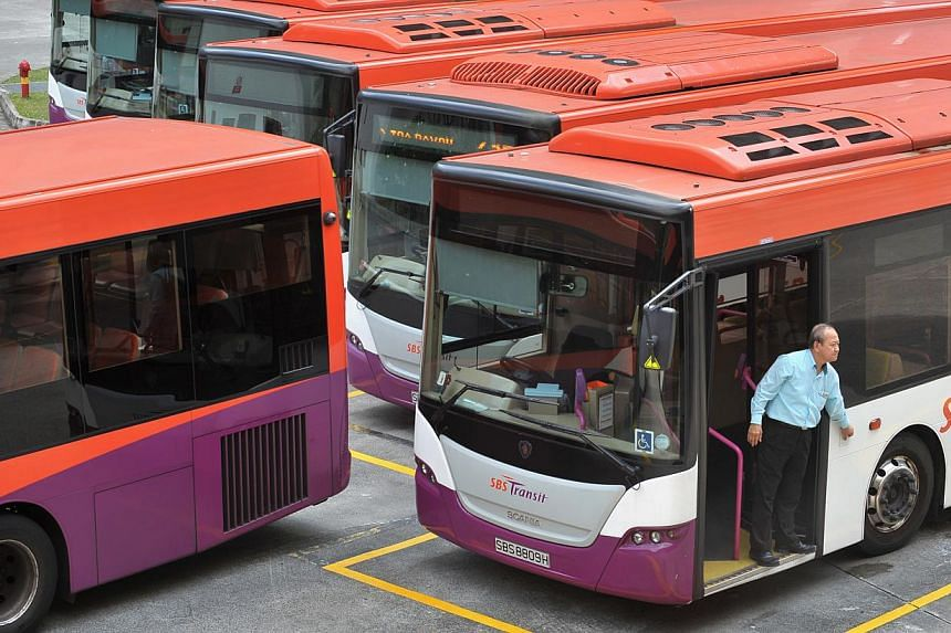 SBS Transit buses at the Toa Payoh bus interchange. -- ST PHOTO: ALPHONSUS CHERN
